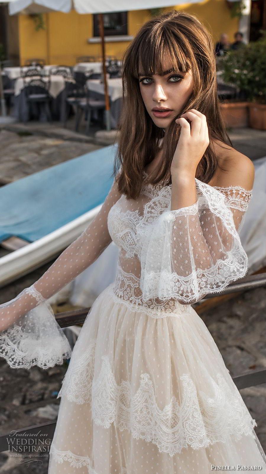 pinella passaro 2018 bridal off the shoulder long poet sleeves straight across neckline lace romantic a  line wedding dress lace back chapel train (3) zv