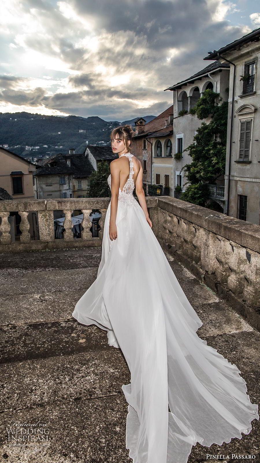 pinella passaro 2018 bridal sleeveless halter neck sweetheart neckline heavily embellished bodice side slit romantic soft a  line wedding dress rasor back chapel train (10) bv