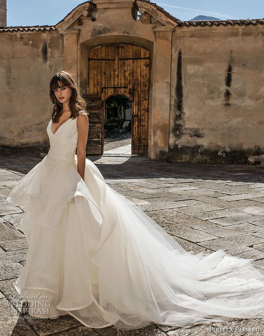 pinella passaro 2018 bridal sleeveless v neck wrap over bodice simple romantic peplum princess ball gown a  line wedding dress open v back royal train (13) mv