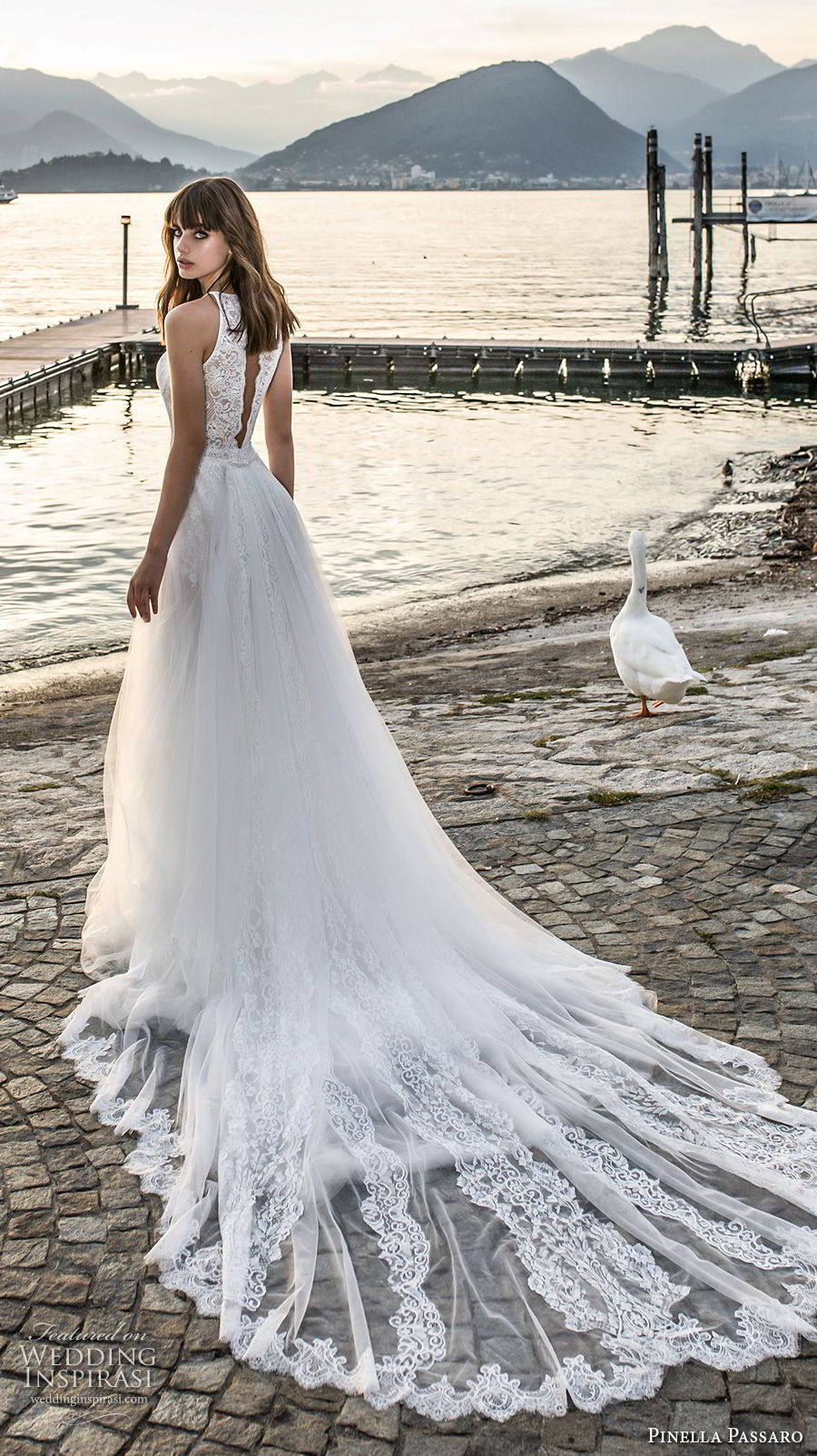 pinella passaro 2018 bridal sleevless halter neck heavily embellished bodice romantic a  line wedding dress open slit back royal train (18) bv