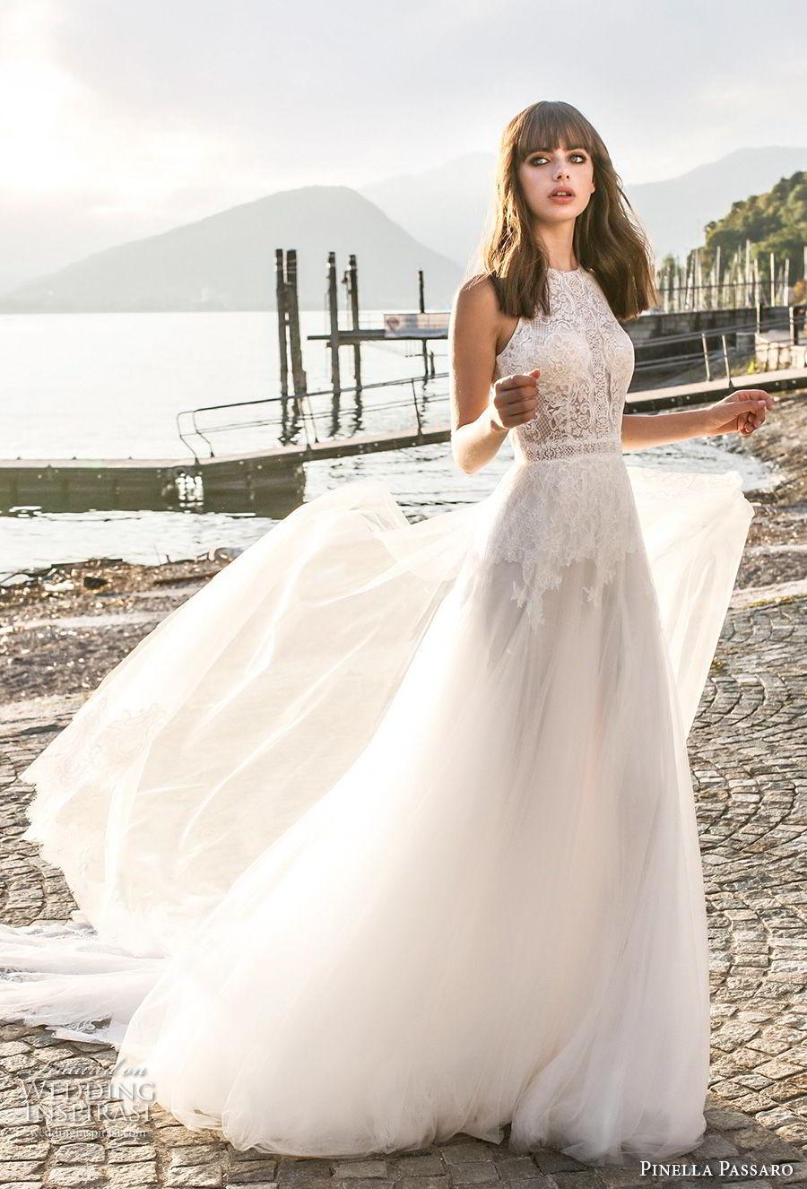 pinella passaro 2018 bridal sleevless halter neck heavily embellished bodice romantic a  line wedding dress open slit back royal train (18) mv