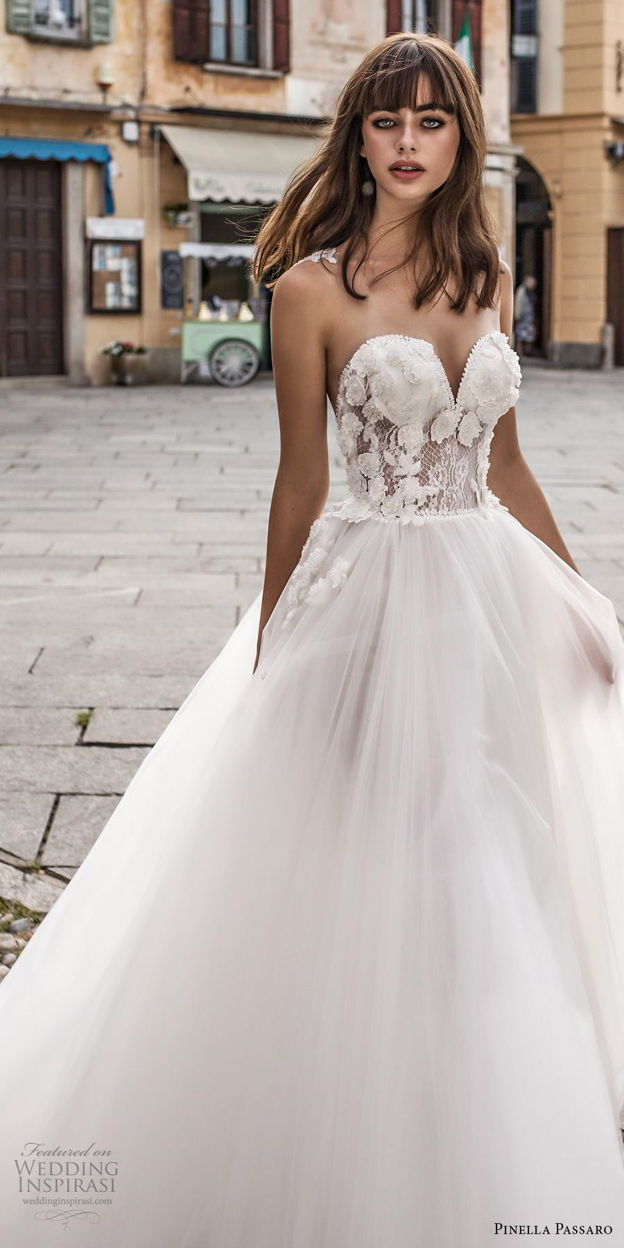 pinella passaro 2018 bridal strapless sweetheart neckline heavily embellished bodice tulle skirt romantic a  line wedding dress chapel train (2) zv
