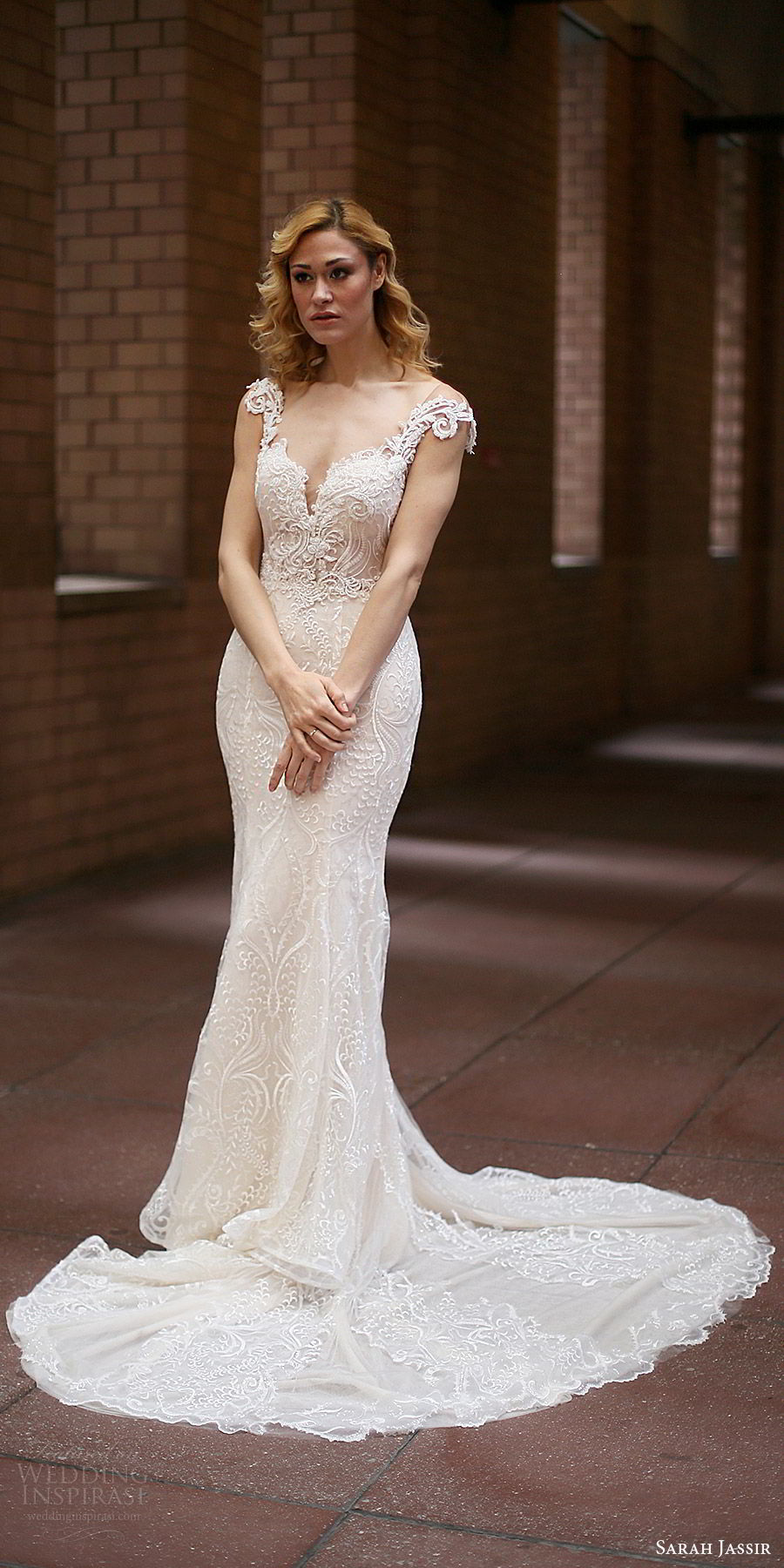 sarah jassir bridal 2018 cap sleeves split sweetheart beaded bodice sheath lace wedding dress (evelyn) mv chapel train elegant
