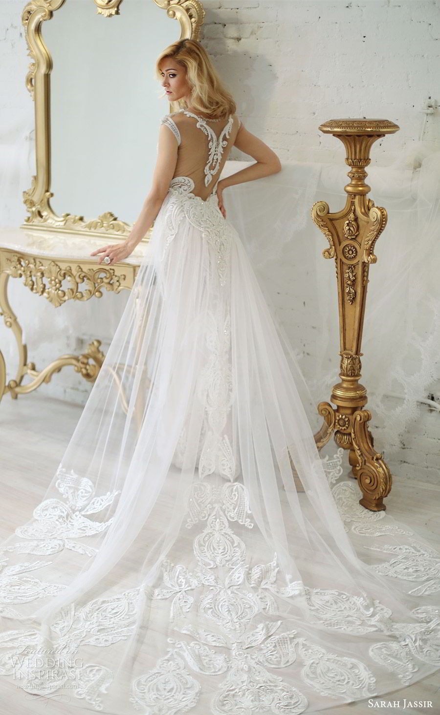 sarah jassir bridal 2018 off shoulder deep v neck illusion jewel neckline cap sleeves sheath lace wedding dress (andi) bv illusion back chapel train elegant