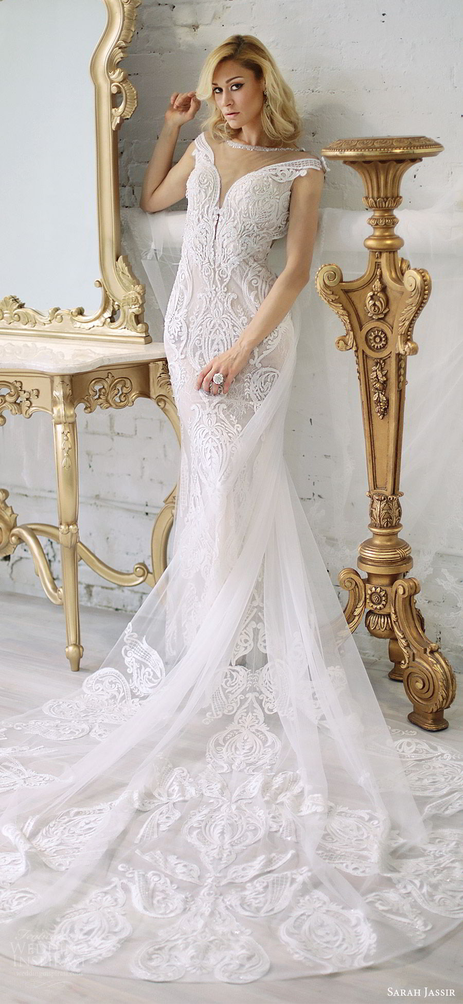 sarah jassir bridal 2018 off shoulder deep v neck illusion jewel neckline cap sleeves sheath lace wedding dress (andi) mv chapel train elegant