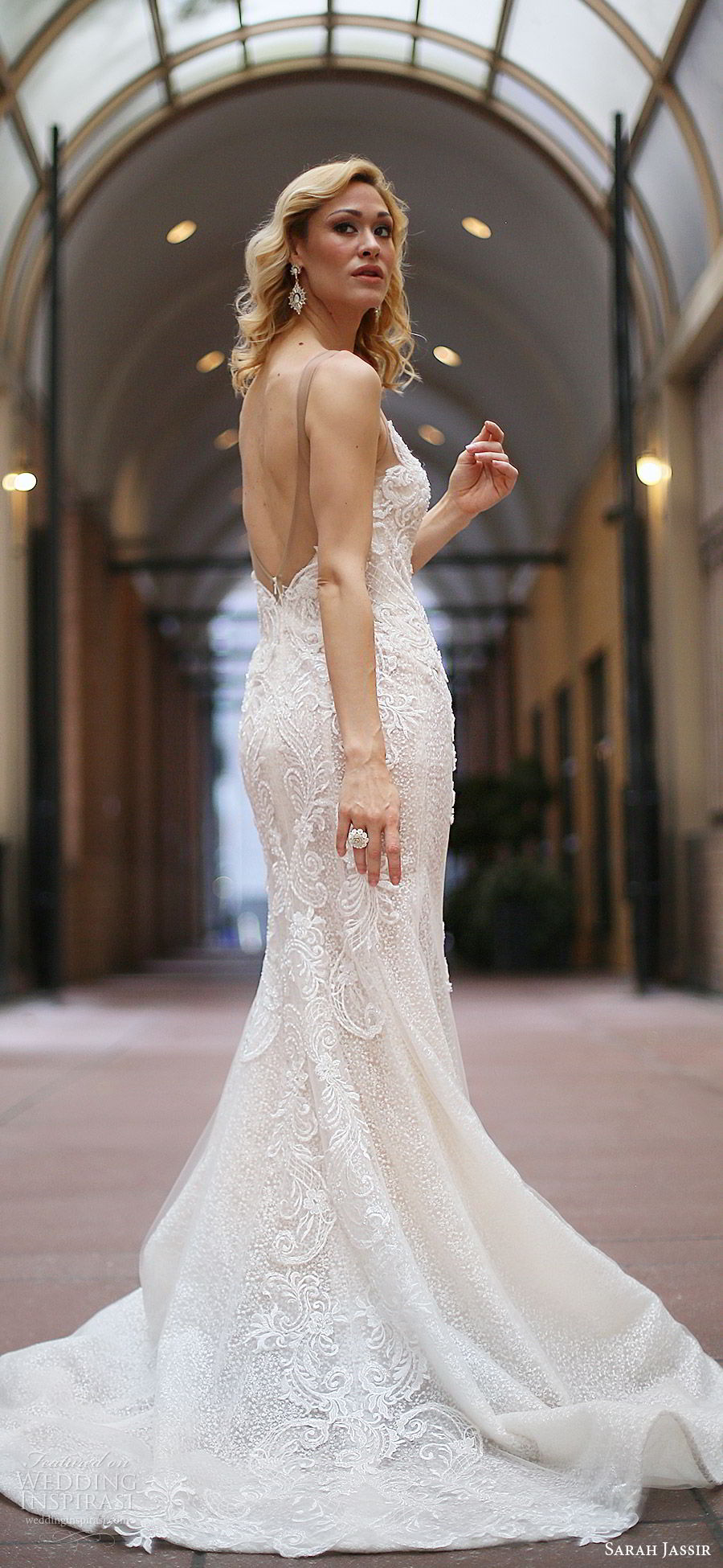 sarah jassir bridal 2018 sleeveles illusion straps sweetheart v neck sheer v neck embellished sheath wedding dress (lexi) bv low back sweep train
