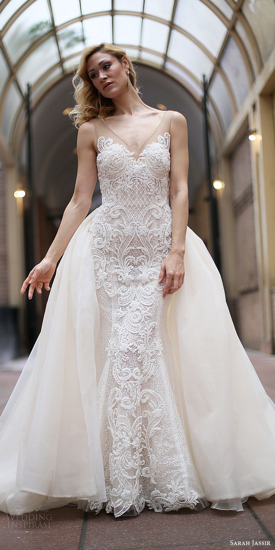 sarah jassir bridal 2018 sleeveles illusion straps sweetheart v neck sheer v neck embellished sheath wedding dress (lexi w train) mv sweep train ball gown overskirt