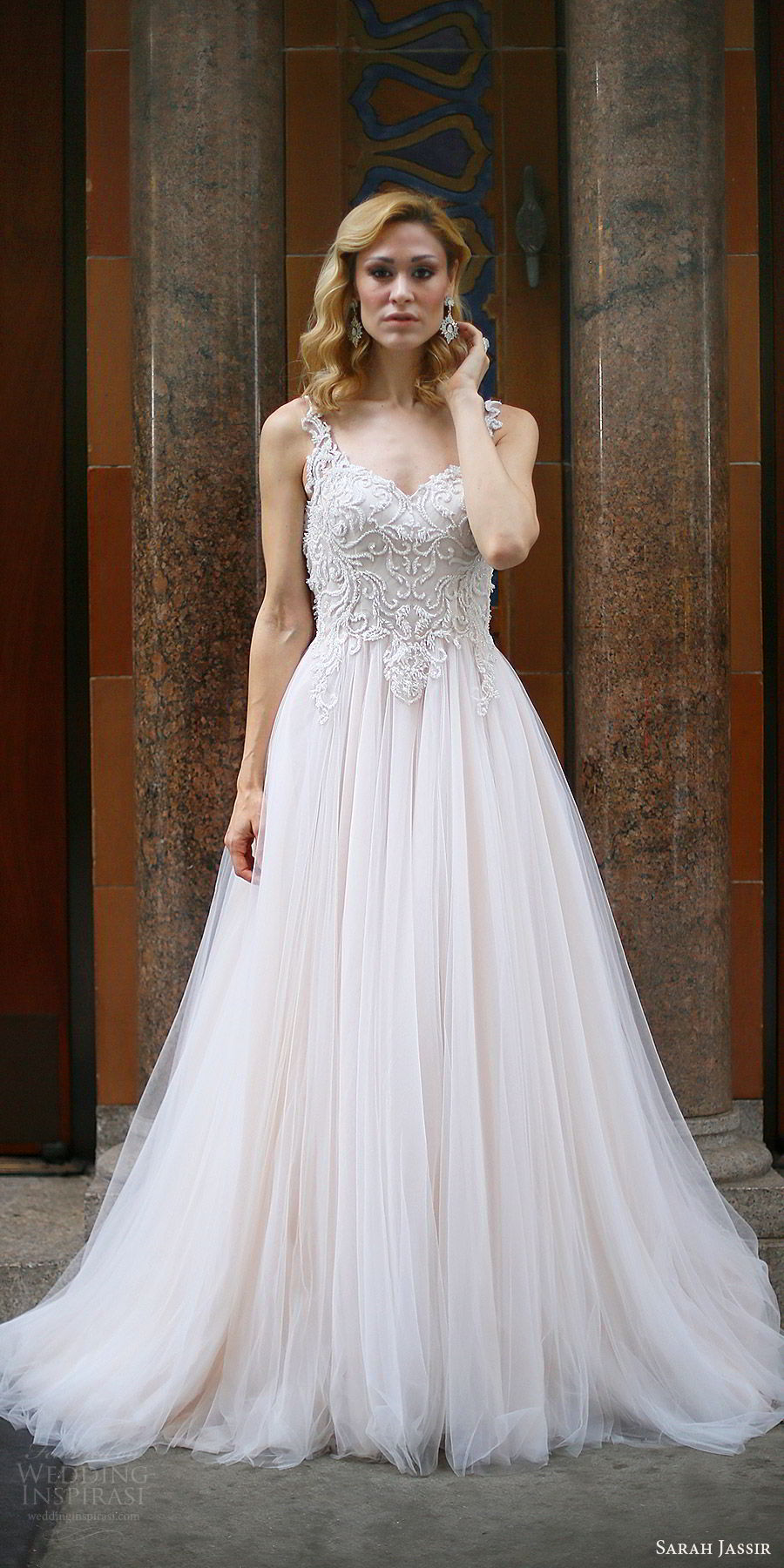sarah jassir bridal 2018 sleeveless illusion straps sweetheart heavily embellished bodice wedding dress (suri) mv blush sweep train romantic elegant
