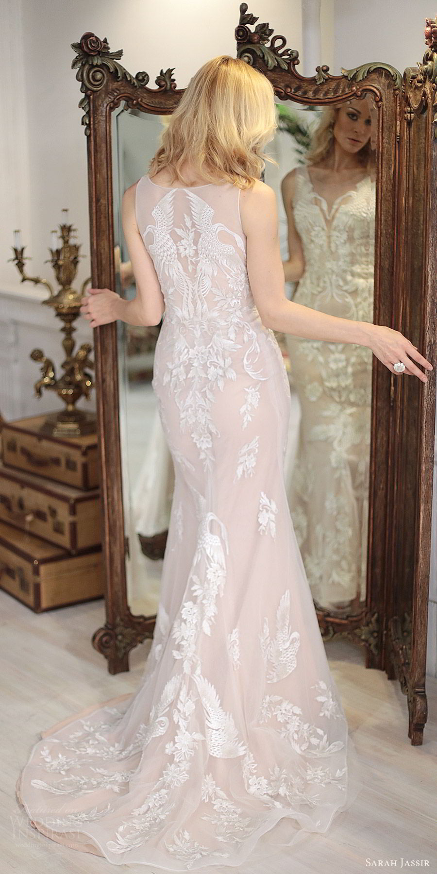 sarah jassir bridal 2018 sleeveless illusion straps sweetheart heavily embellished lace sheath wedding dress (swan) bv blush sweep train modern elegant