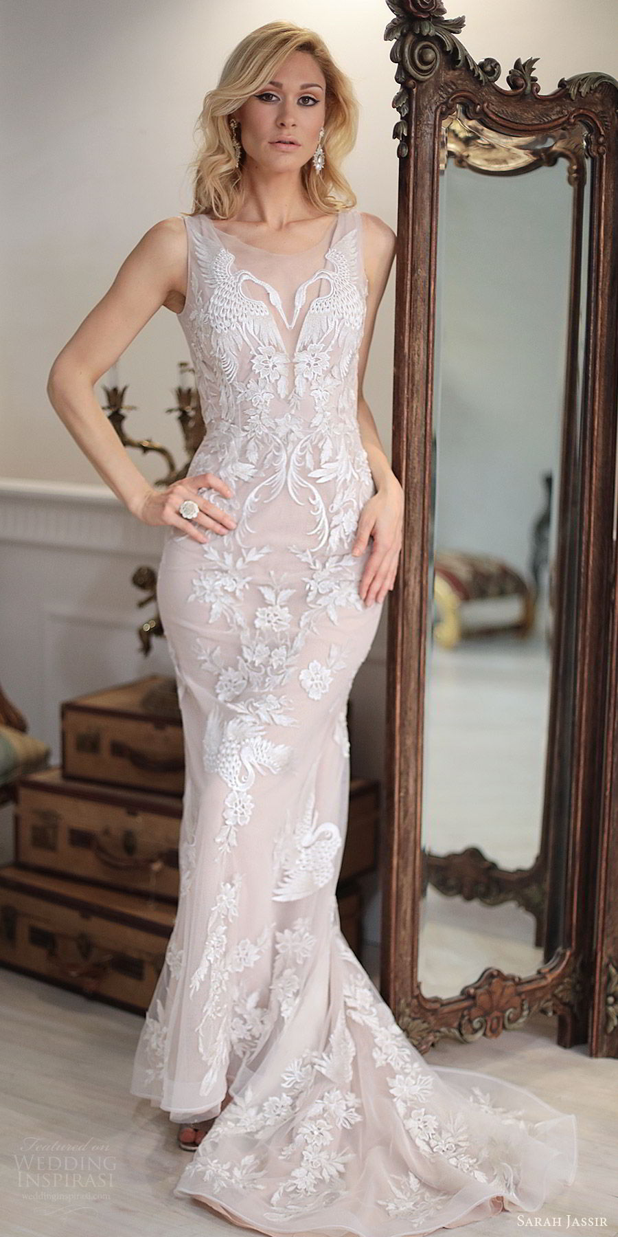 sarah jassir bridal 2018 sleeveless illusion straps sweetheart heavily embellished lace sheath wedding dress (swan) mv blush sweep train modern elegant
