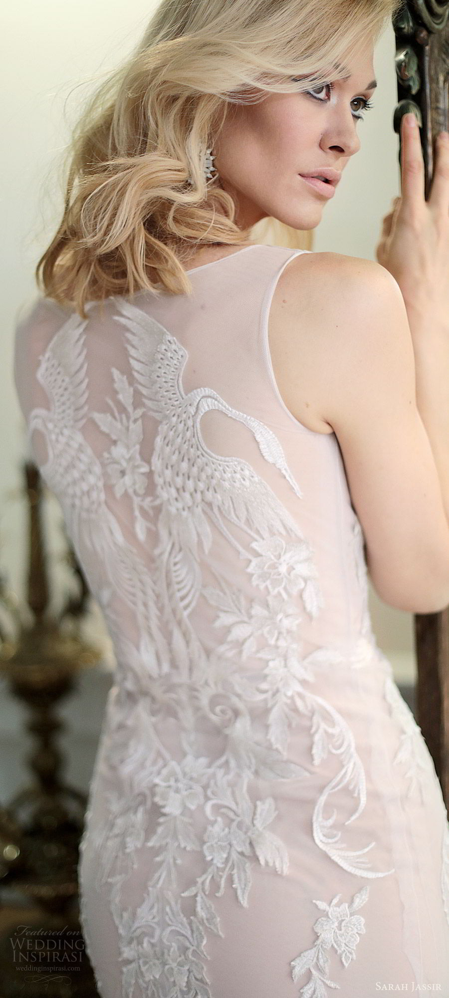 sarah jassir bridal 2018 sleeveless illusion straps sweetheart heavily embellished lace sheath wedding dress (swan) zbv blush sweep train modern elegant