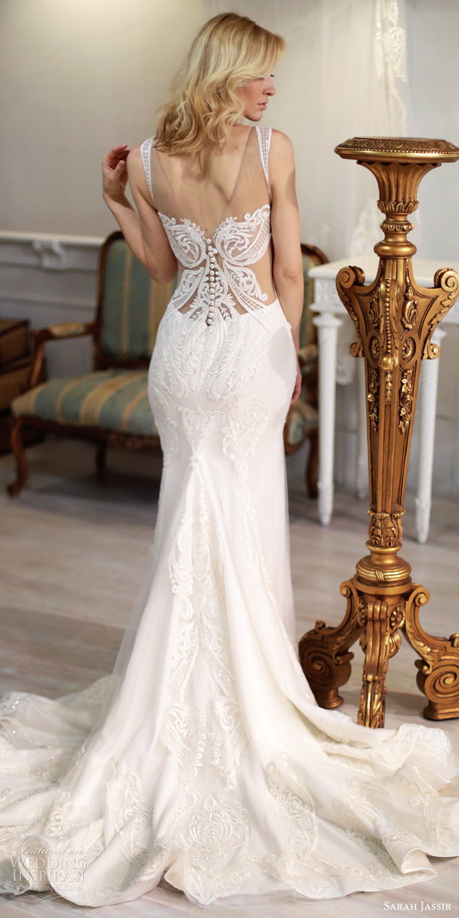 sarah jassir bridal 2018 sleeveless illusion straps sweetheart heavily embellished wedding dress (maya) bv illusion back chapel train elegant