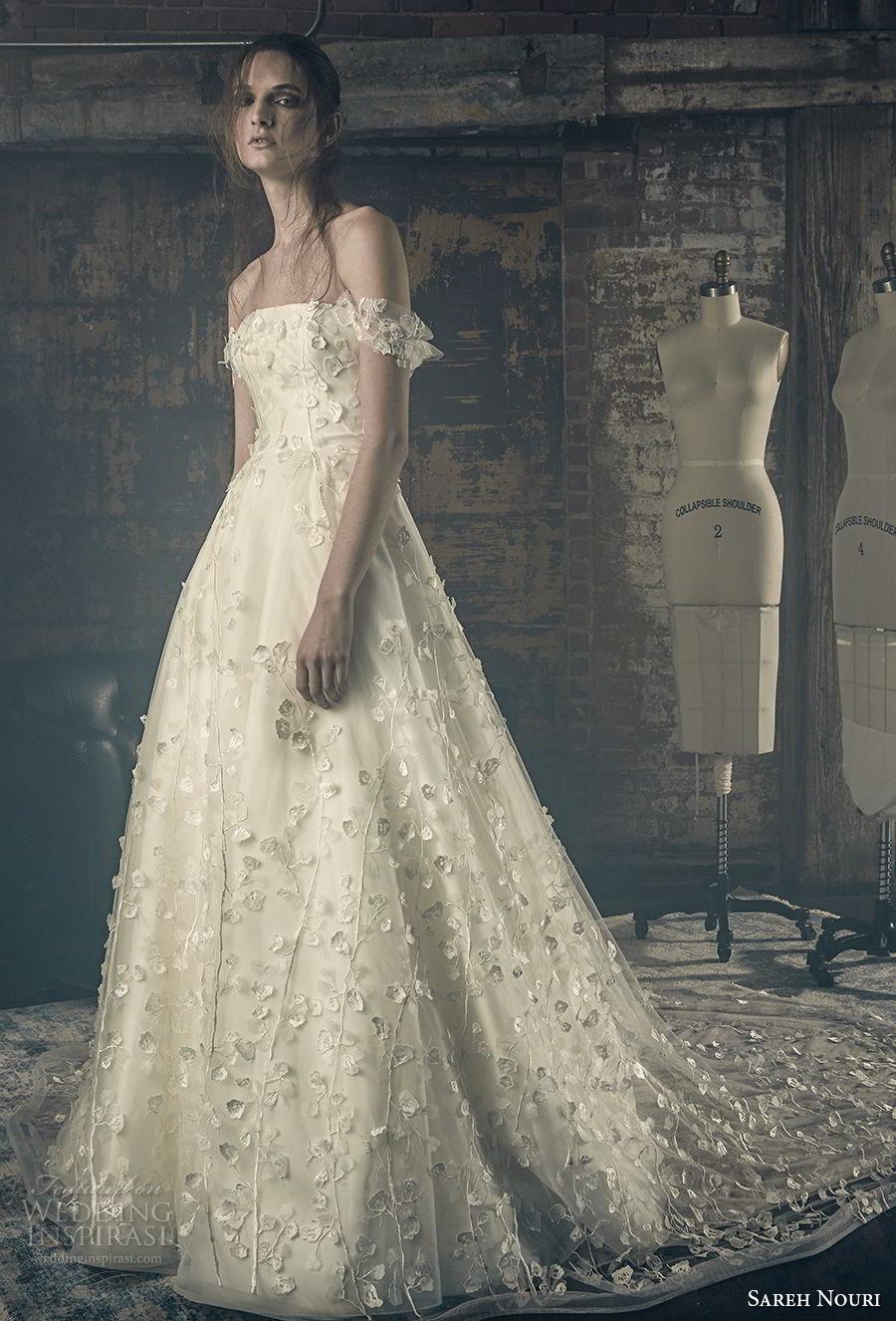 sareh nouri fall 2018 bridal off the should strap straight across neckline full embellishment romantic a line wedding dress chapel train (9) mv