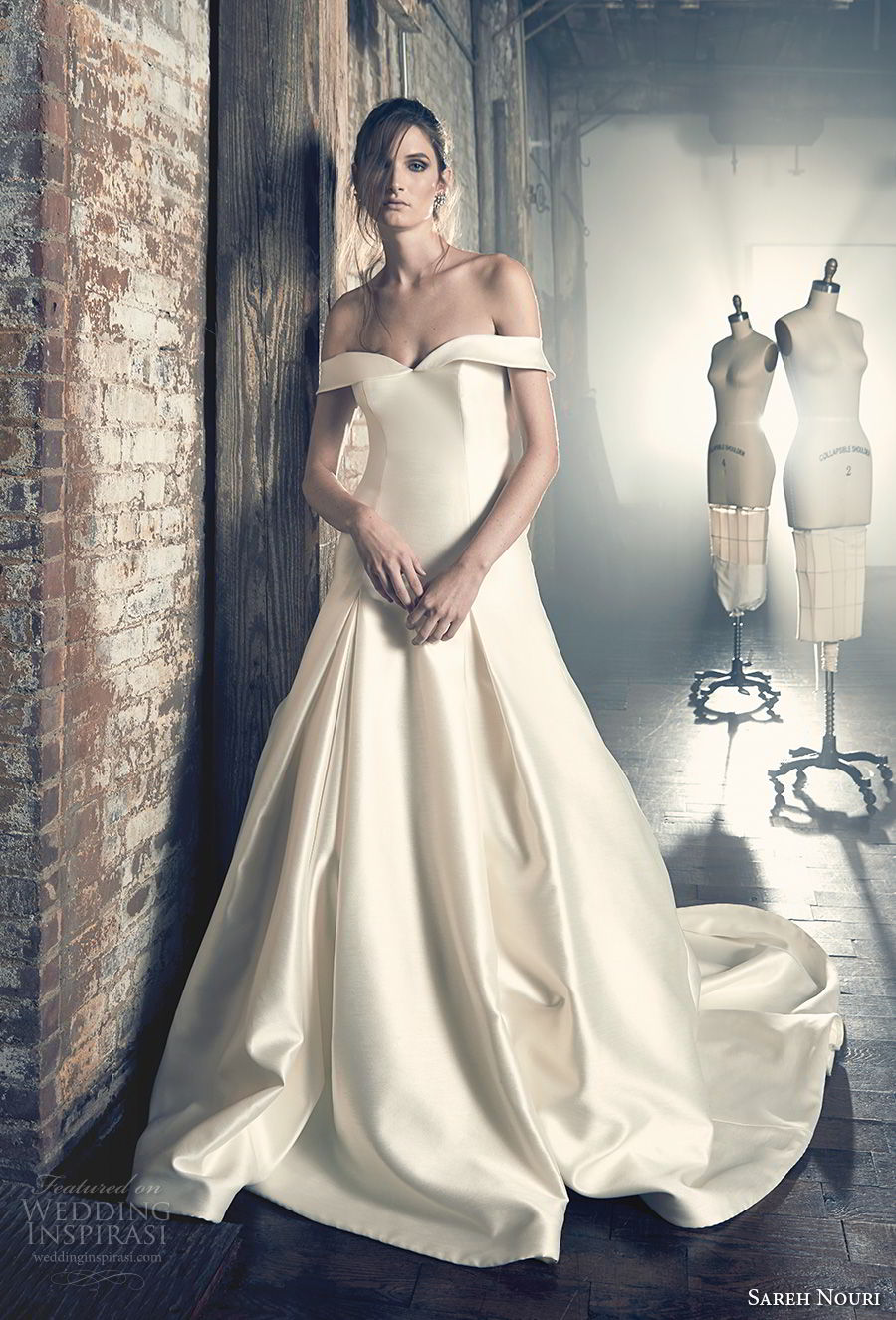 sareh nouri fall 2018 bridal off the shoulder semi sweetheart neckline simple clean bodice elegant a line wedding dress chapel train (10) mv