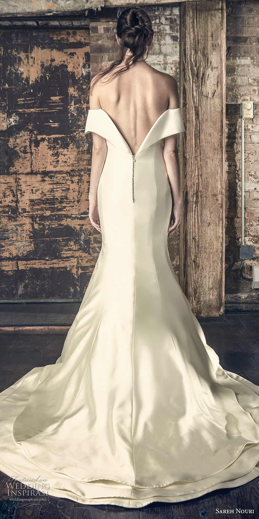 sareh nouri fall 2018 bridal off the shoulder straight across neckline simple clean classic mermaid wedding dress chapel train (2) bv