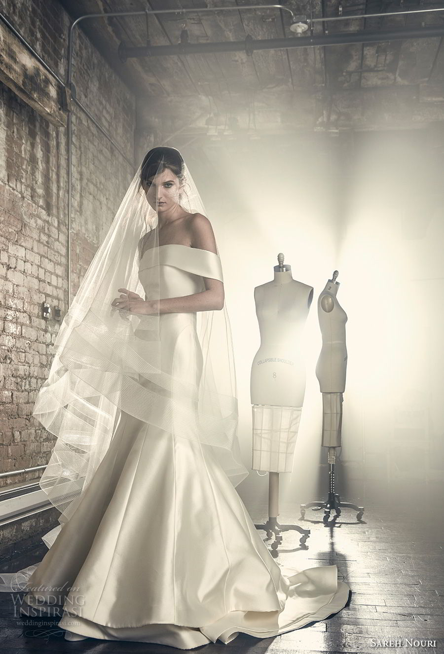 sareh nouri fall 2018 bridal off the shoulder straight across neckline simple clean classic mermaid wedding dress chapel train (2) mv