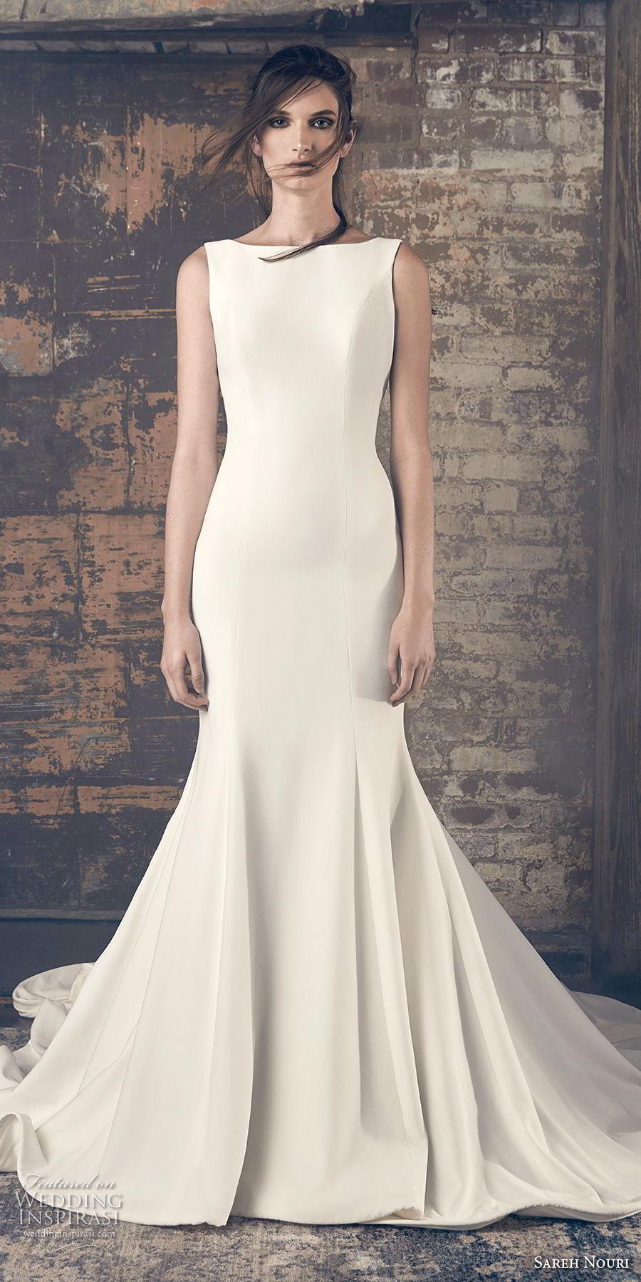 sareh nouri fall 2018 bridal sleeveless bateau neck simple clean elegant classy mermaid wedding dress open v back chapel train (8) mv