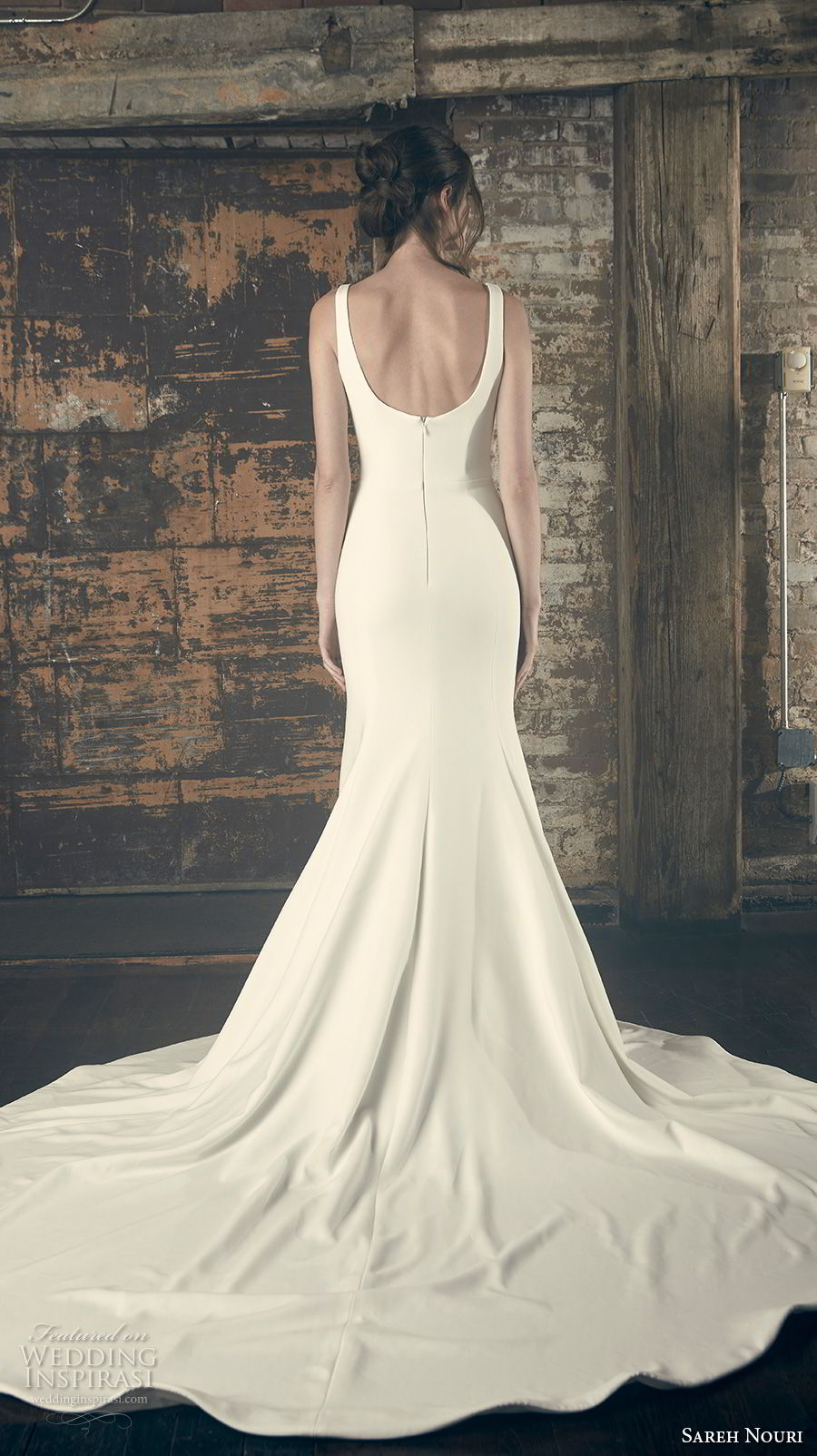 sareh nouri fall 2018 bridal sleeveless with strap v neck simple clean bodice elegant classic fit and flare trumpet wedding dress open scoop back chapel train (11) bv