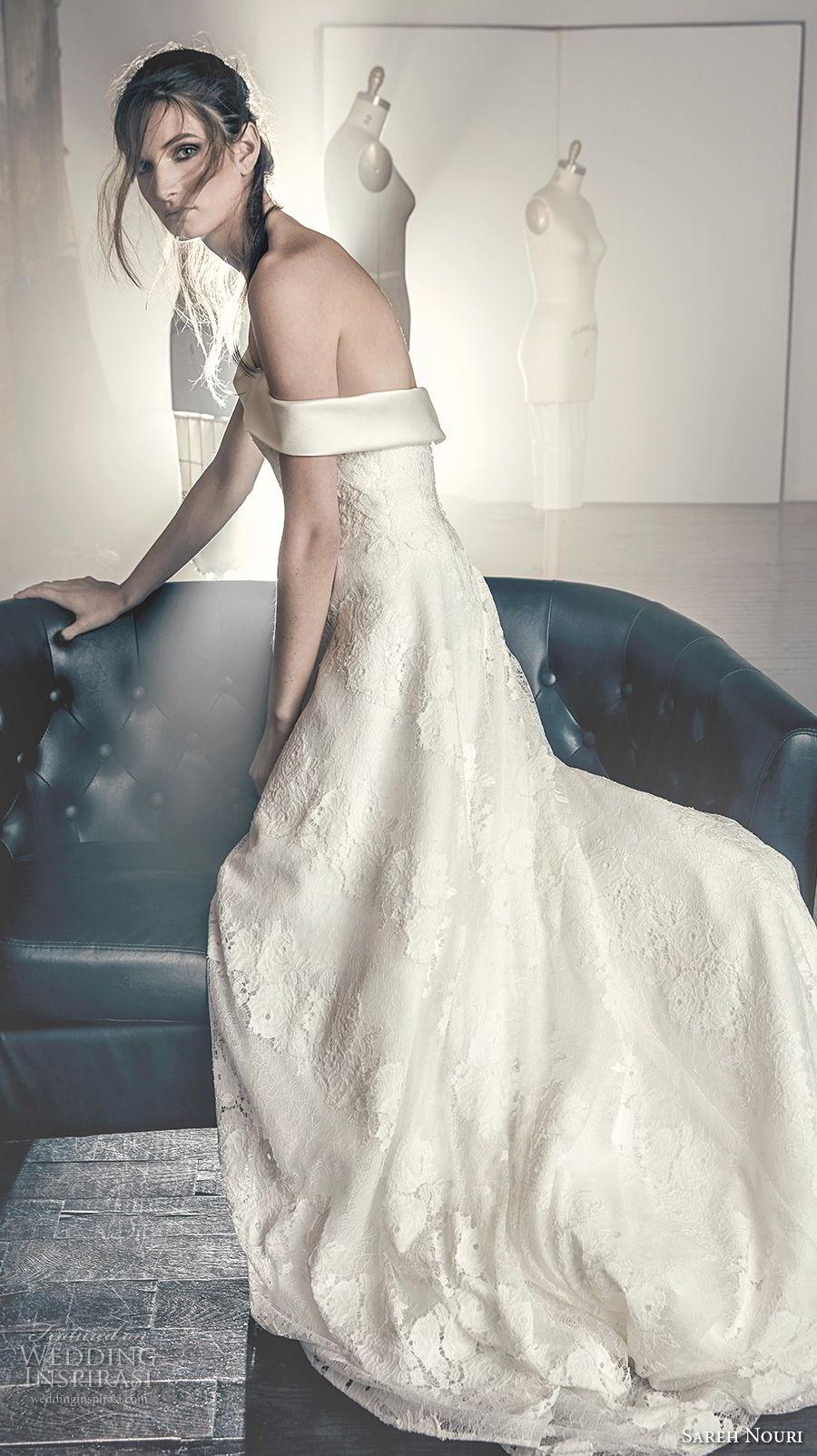 sareh nouri fall 2018 bridal strapless off the shoulder straight across neckline full embellishment elegant romantic a line wedding dress chapel train (4) bv sdv