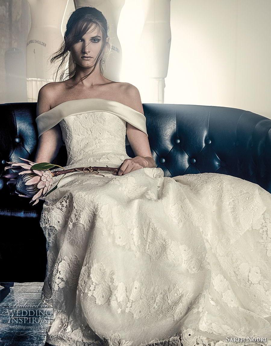 sareh nouri fall 2018 bridal strapless off the shoulder straight across neckline full embellishment elegant romantic a line wedding dress chapel train (4) mv