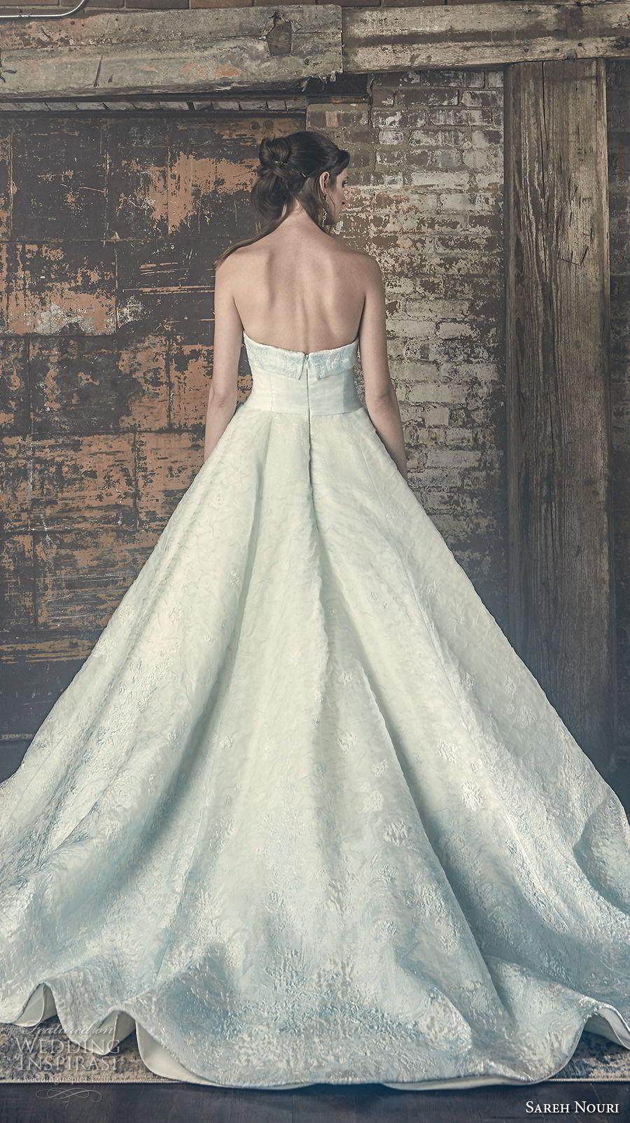 sareh nouri fall 2018 bridal strapless straight across neckline light embellishment romantic a line wedding dress chapel train (6) bv