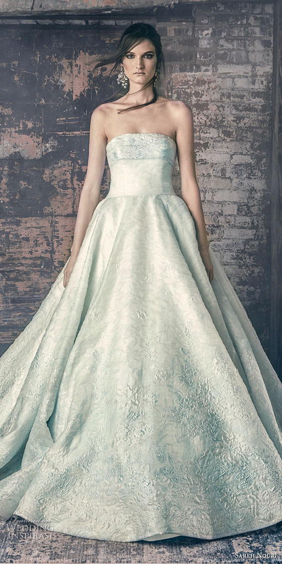 sareh nouri fall 2018 bridal strapless straight across neckline light embellishment romantic a line wedding dress chapel train (6) lv