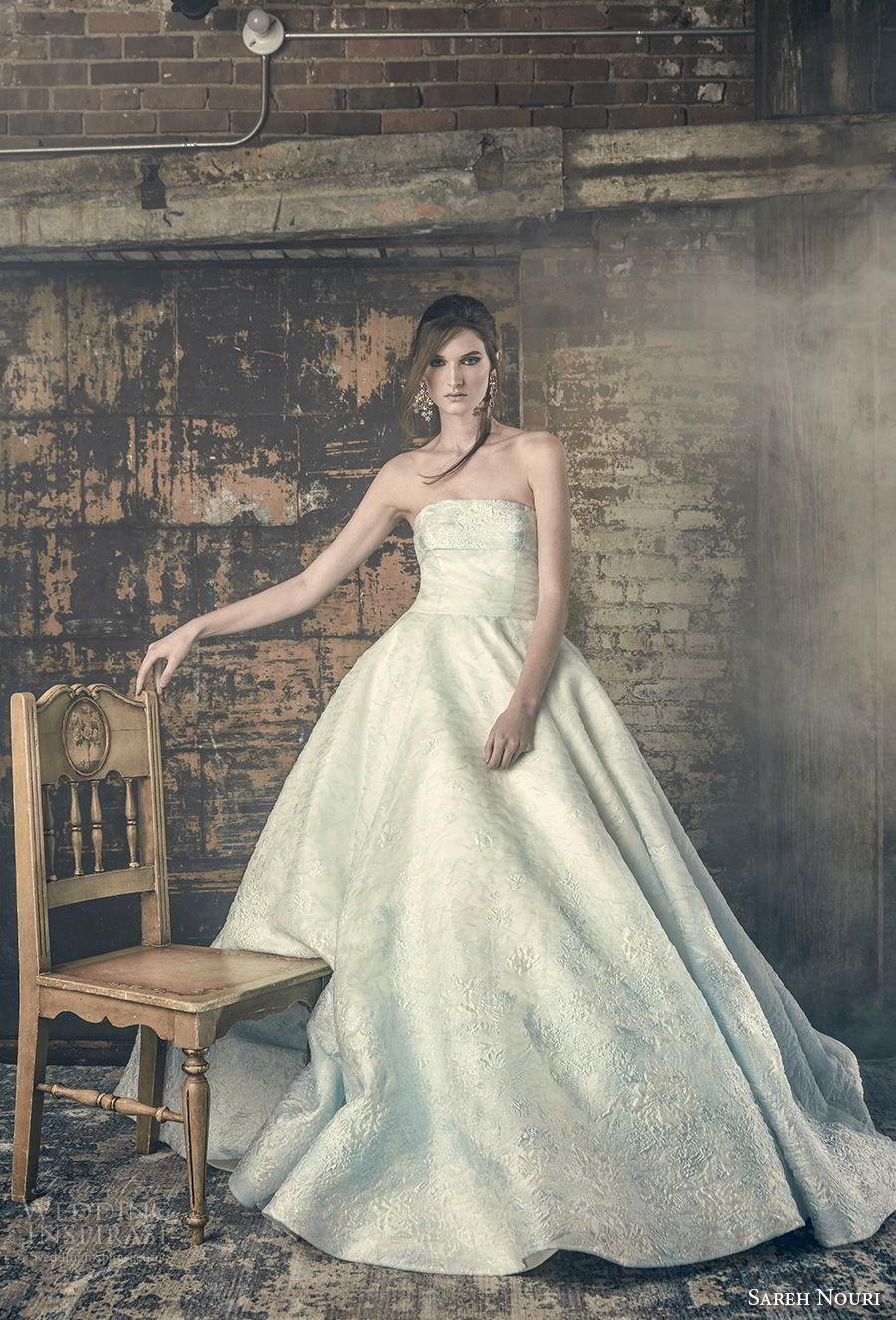 sareh nouri fall 2018 bridal strapless straight across neckline light embellishment romantic a line wedding dress chapel train (6) mv