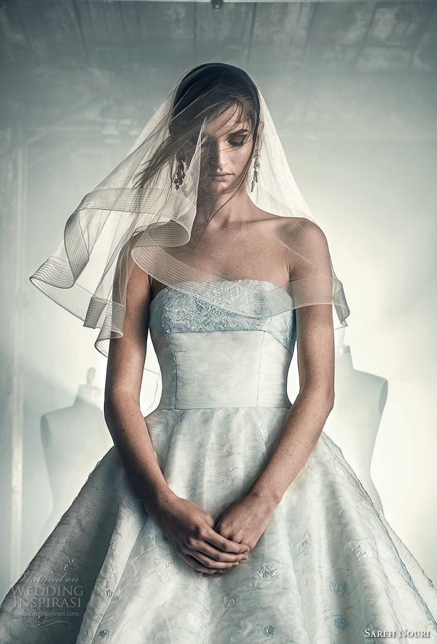 sareh nouri fall 2018 bridal strapless straight across neckline light embellishment romantic a line wedding dress chapel train (6) zv