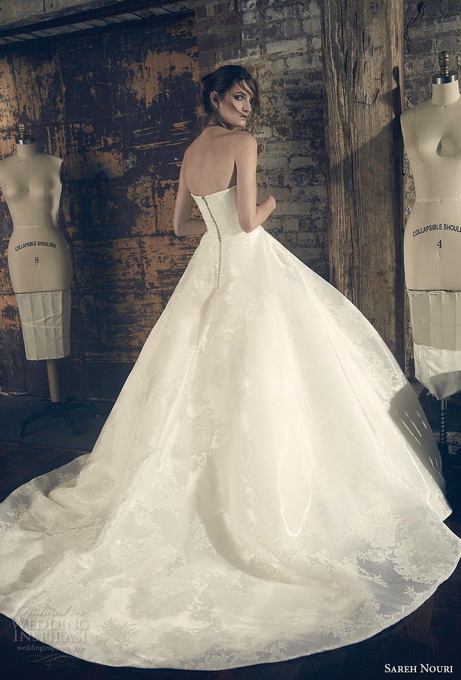 sareh nouri fall 2018 bridal strapless straight across neckline simple elegant romantic a line wedding dress chapel train (7) bv