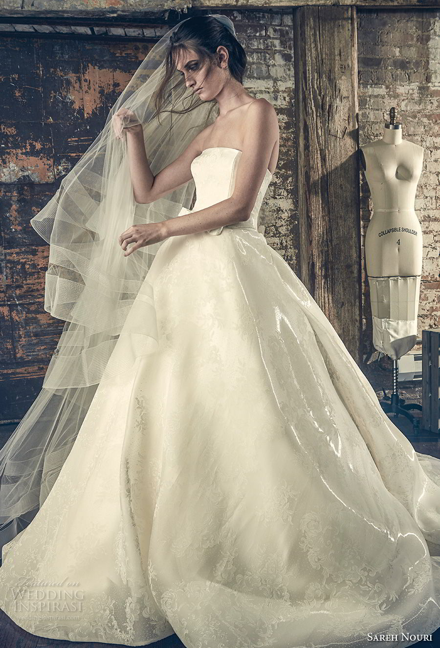 sareh nouri fall 2018 bridal strapless straight across neckline simple elegant romantic a line wedding dress chapel train (7) mv