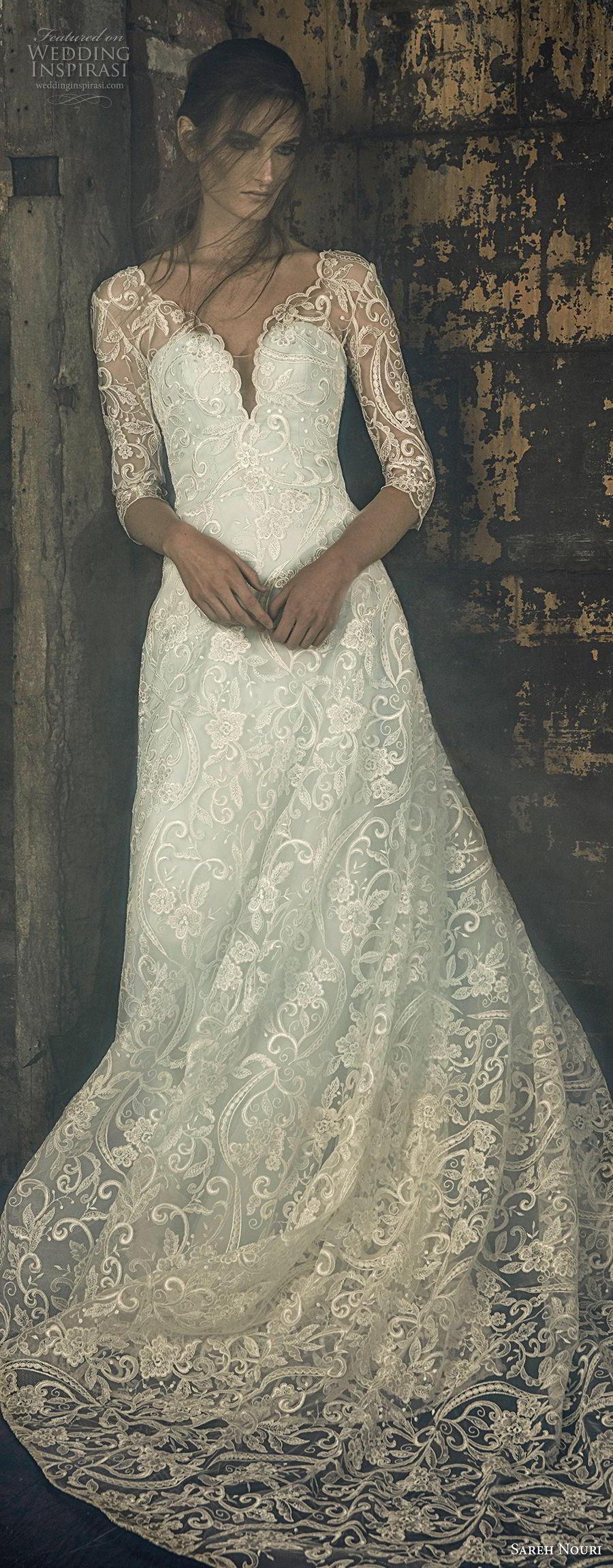 sareh nouri fall 2018 bridal three quarter sleeves illusion v sweetheart neckline full embellishment elegant romantic a line wedding dress open v back chapel train (12) lv