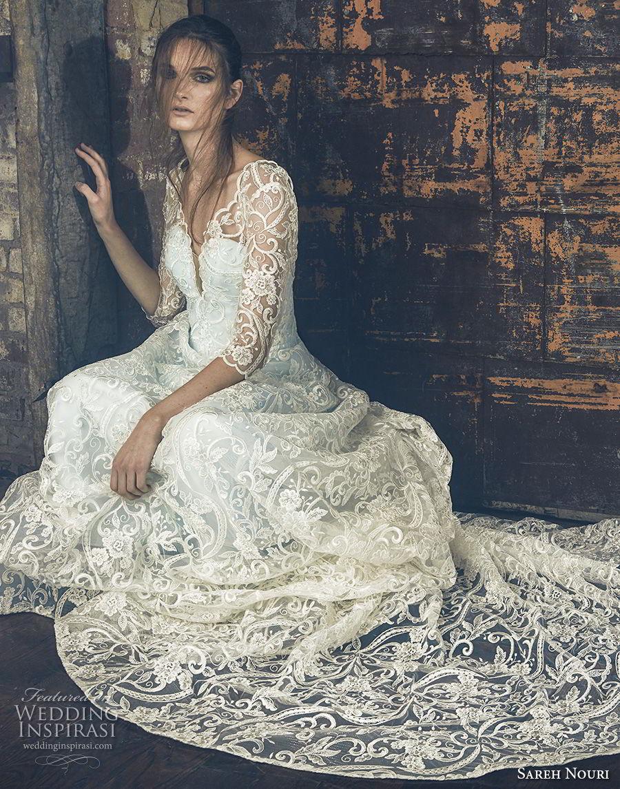 sareh nouri fall 2018 bridal three quarter sleeves illusion v sweetheart neckline full embellishment elegant romantic a line wedding dress open v back chapel train (12) mv