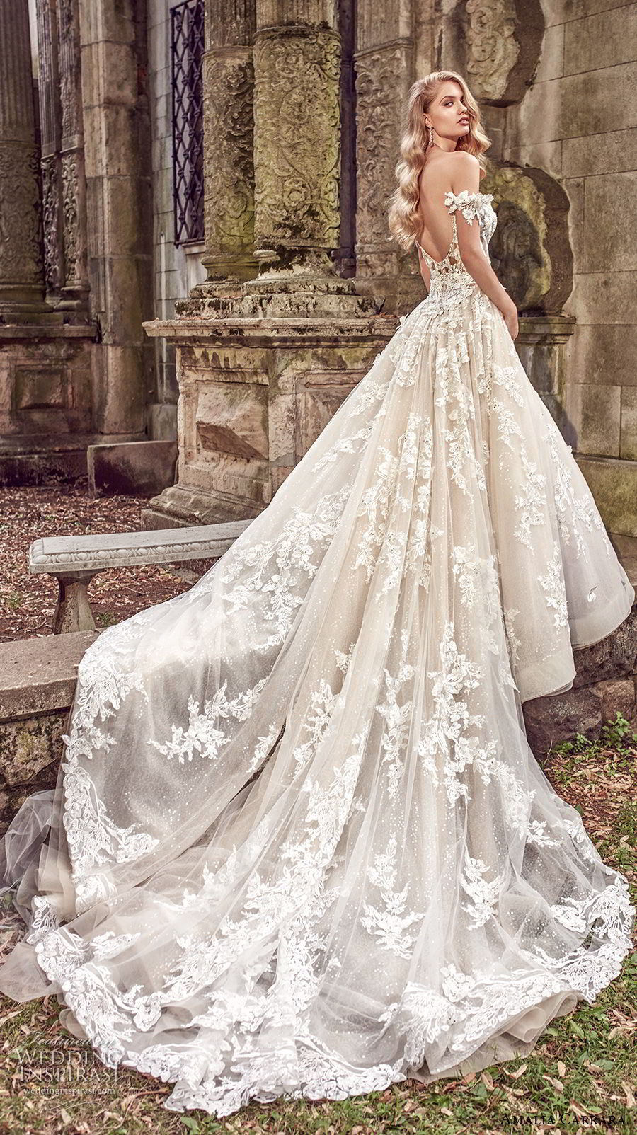 amalia carrara spring 2018 bridal off the shoulder sweetheart neckline heavily embellished bodice romantic princess a  line wedding dress open back royal train (1) bv
