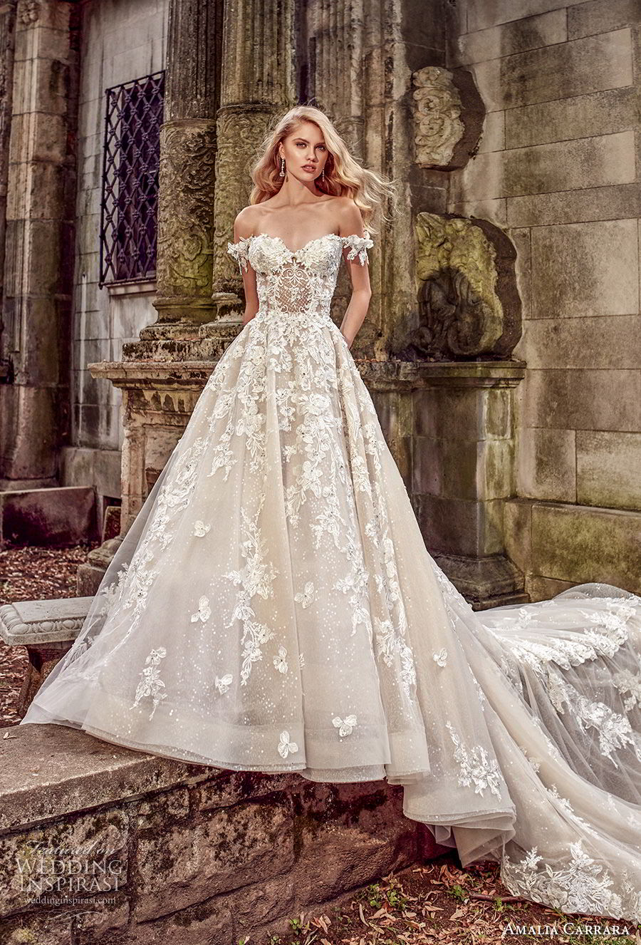 amalia carrara spring 2018 bridal off the shoulder sweetheart neckline heavily embellished bodice romantic princess a  line wedding dress open back royal train (1) mv