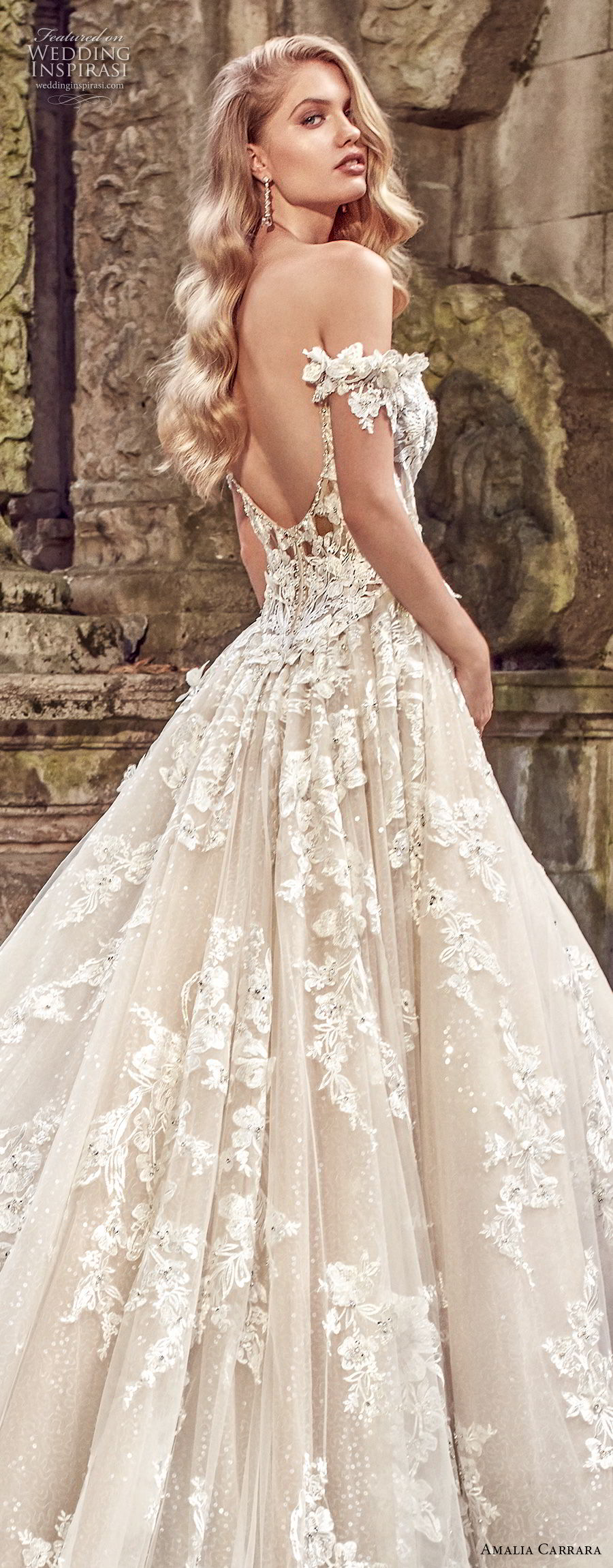 amalia carrara spring 2018 bridal off the shoulder sweetheart neckline heavily embellished bodice romantic princess a  line wedding dress open back royal train (1) zbv