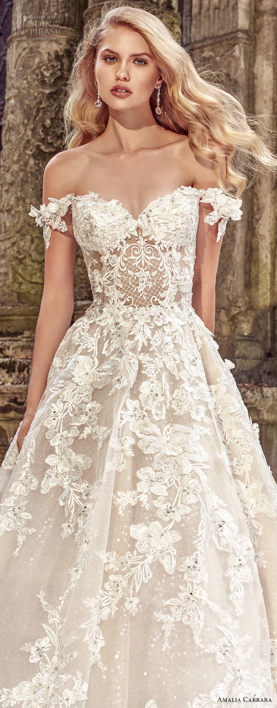 amalia carrara spring 2018 bridal off the shoulder sweetheart neckline heavily embellished bodice romantic princess a  line wedding dress open back royal train (1) zv