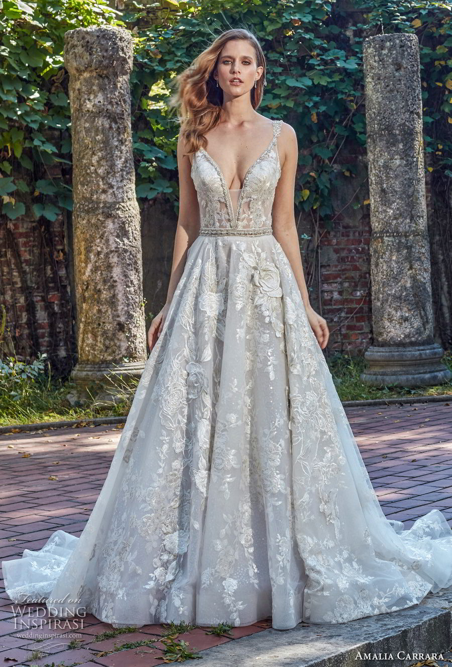 amalia carrara spring 2018 bridal sleeveless deep plunging v neck full embellishment sexy romantic a  line wedding dress open v back chapel train (3) mv