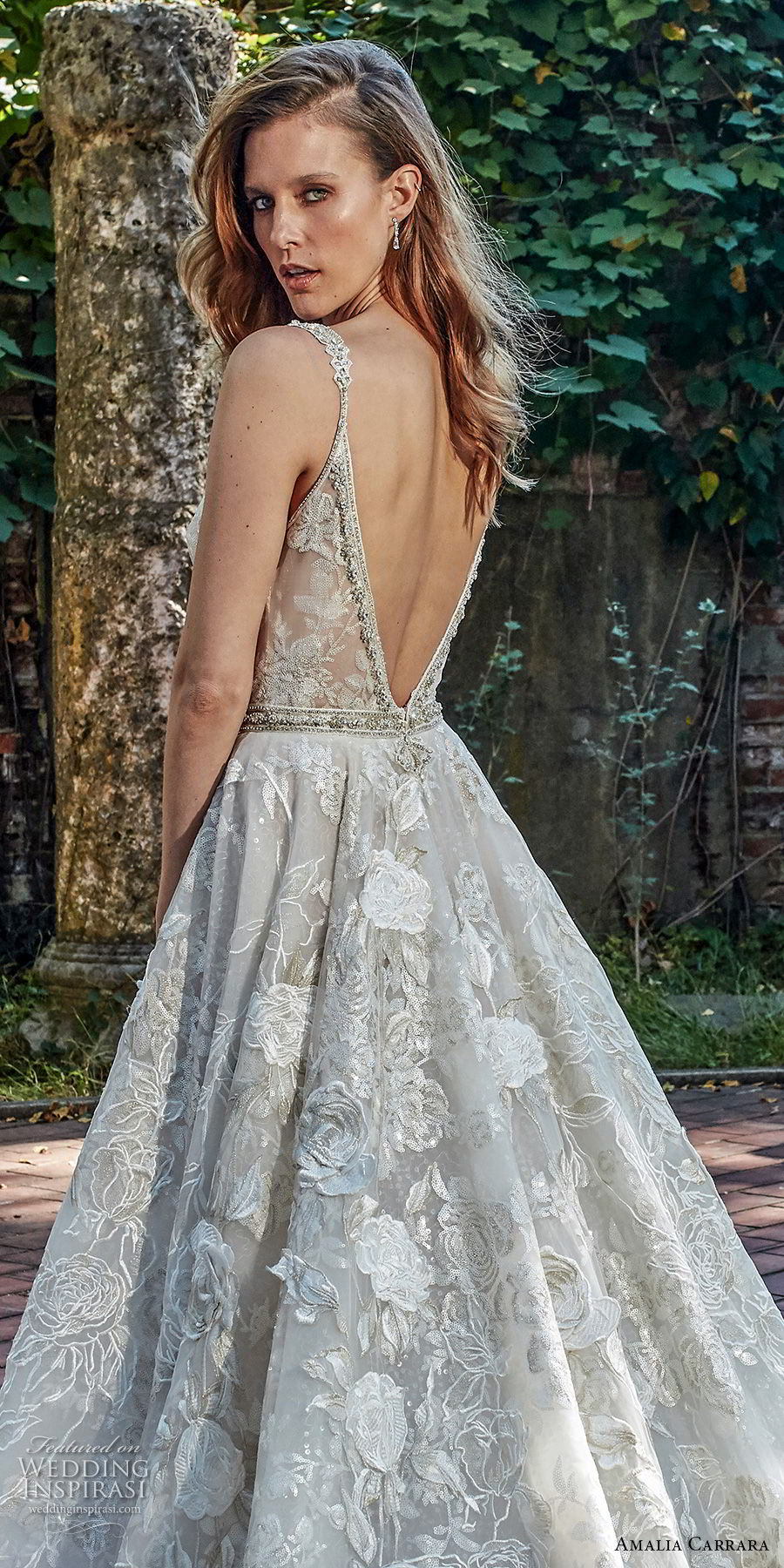 amalia carrara spring 2018 bridal sleeveless deep plunging v neck full embellishment sexy romantic a  line wedding dress open v back chapel train (3) zbv