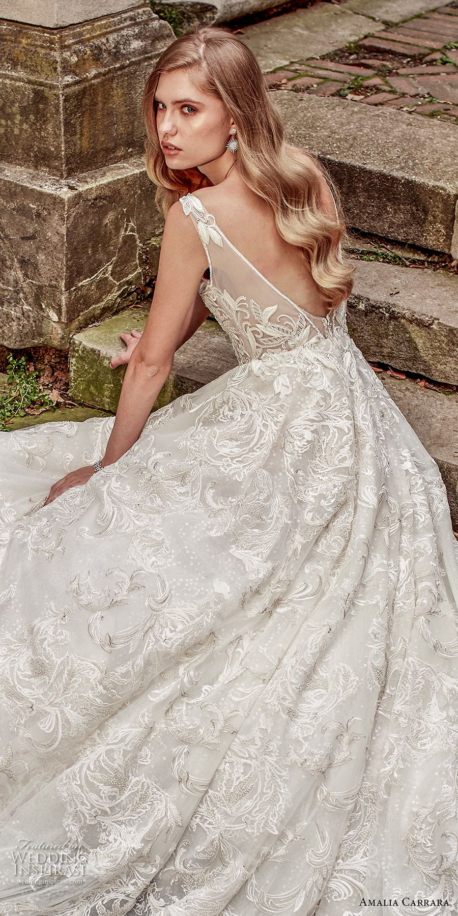 amalia carrara spring 2018 bridal sleeveless deep v neck heavily embellished bodice romantic a  line wedding dress open v back royal train (2) zbv