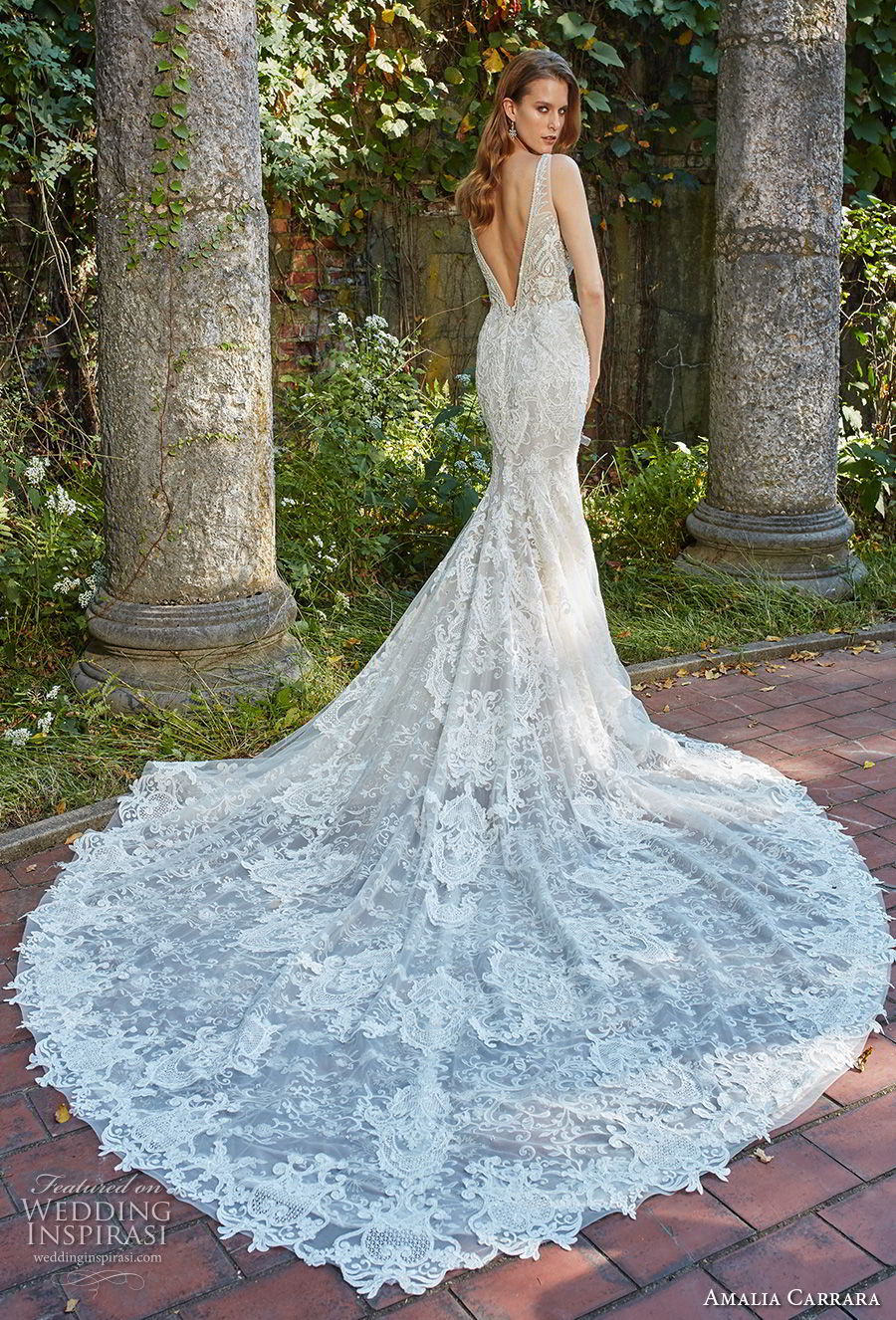 amalia carrara spring 2018 bridal sleeveless v neck full embellishment elegant fit and flare wedding dress open v back royal train (4) bv