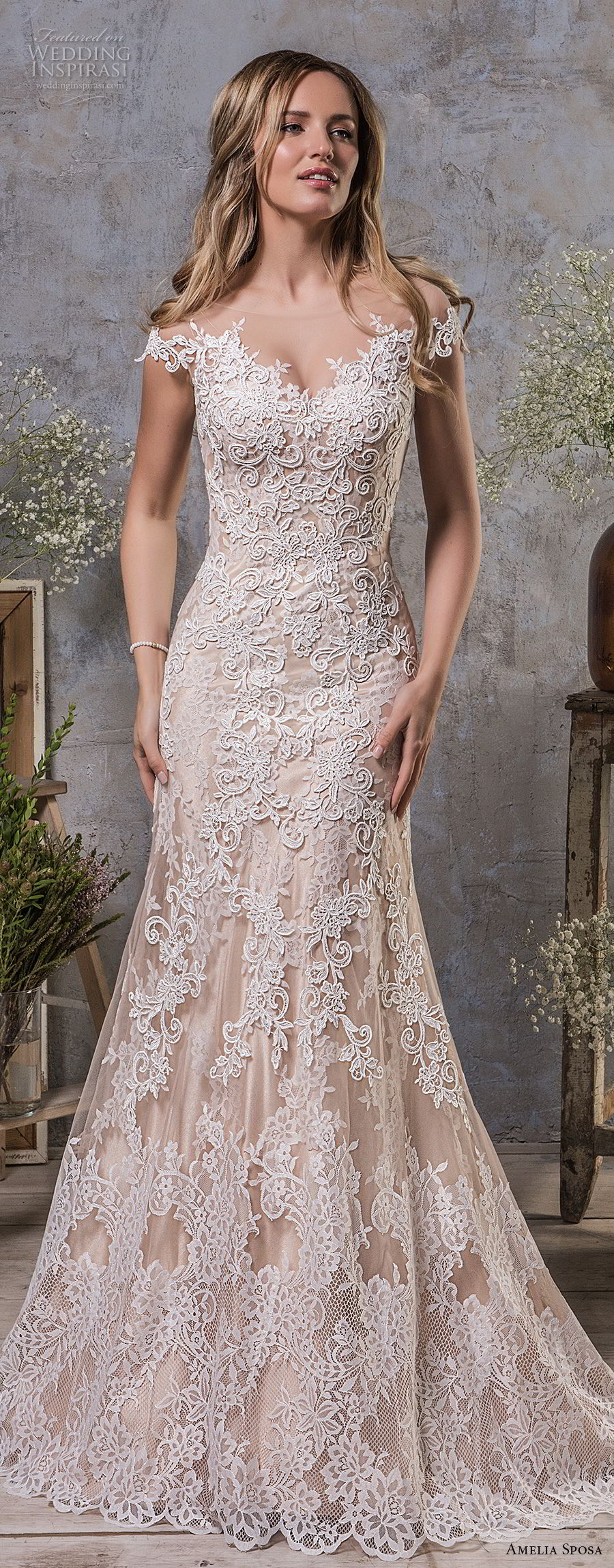 amelia sposa fall 2018 bridal cap sleeves illusion bateau sweetheart neckline full embellishment champagne color a line wedding dress sheer button back medium train (5) mv