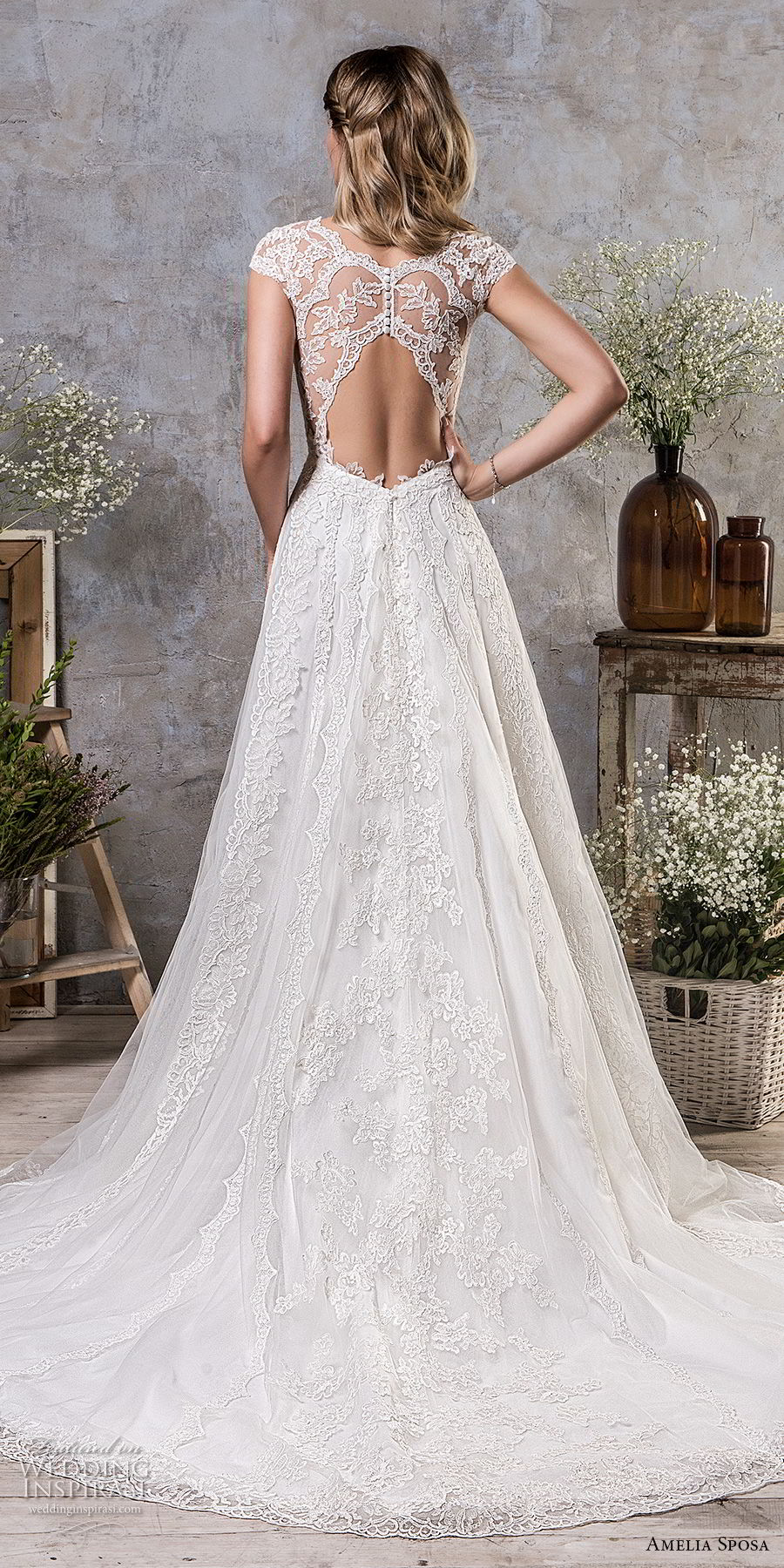 amelia sposa fall 2018 bridal cap sleeves illusion v sweetheart neckline heavily embellished bodice elegant romantic a line wedding dress keyhole back chapel train (8) bv