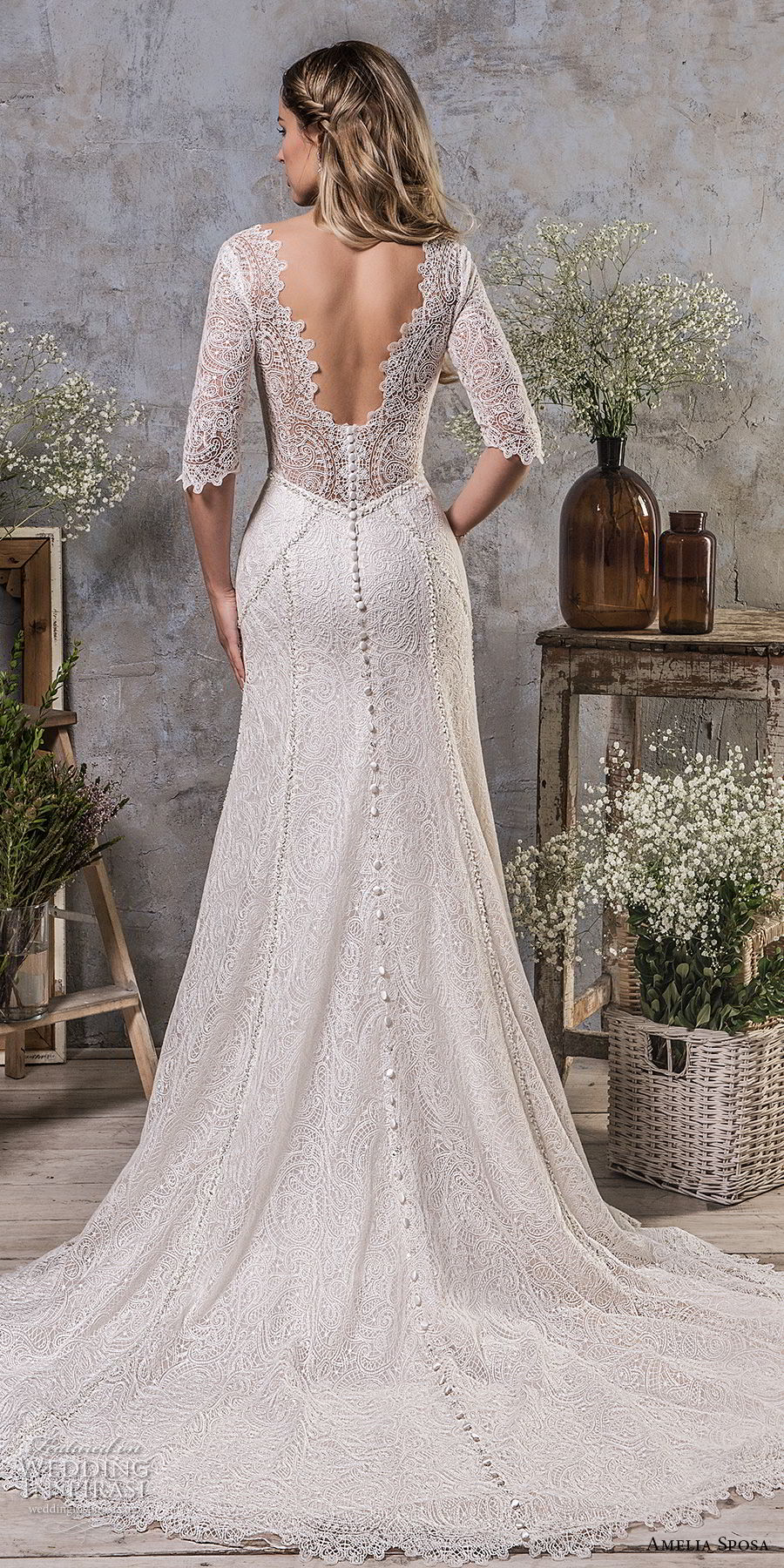 amelia sposa fall 2018 bridal half sleeves sweetheart neckline full embellishment elegant classic a line wedding dress v back medium train (6) bv