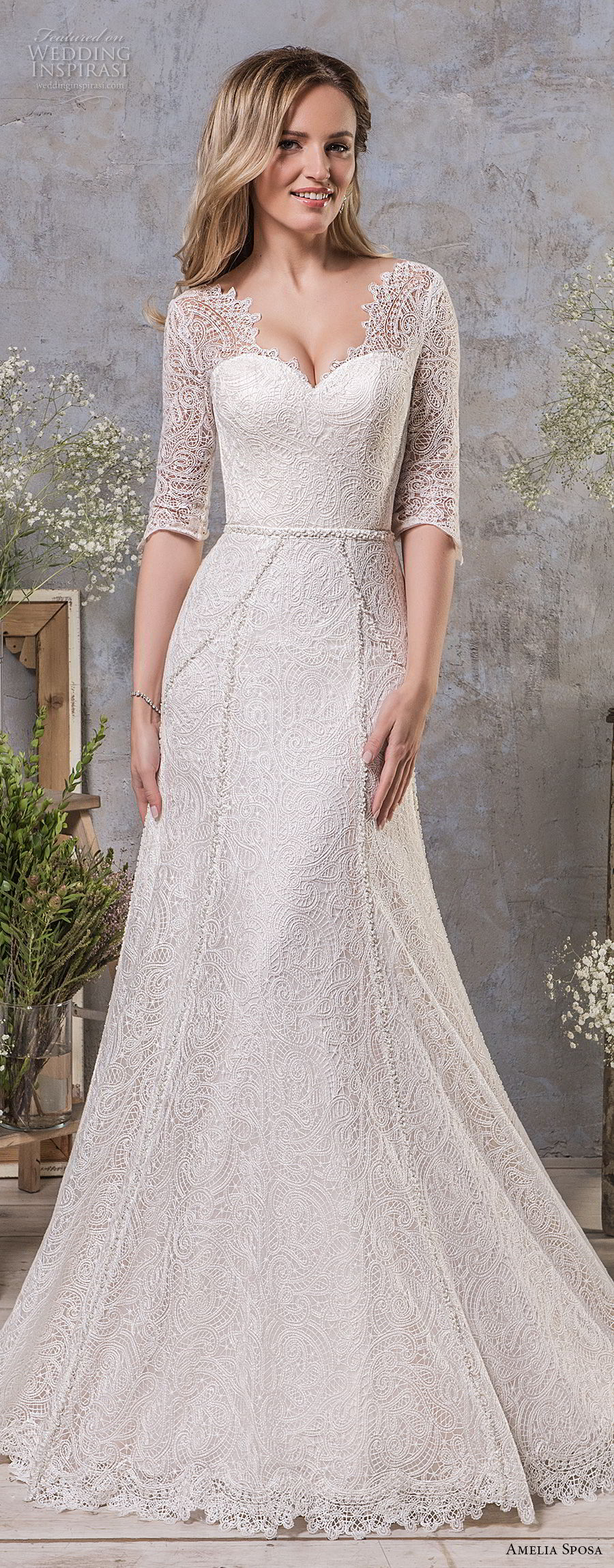 amelia sposa fall 2018 bridal half sleeves sweetheart neckline full embellishment elegant classic a line wedding dress v back medium train (6) mv