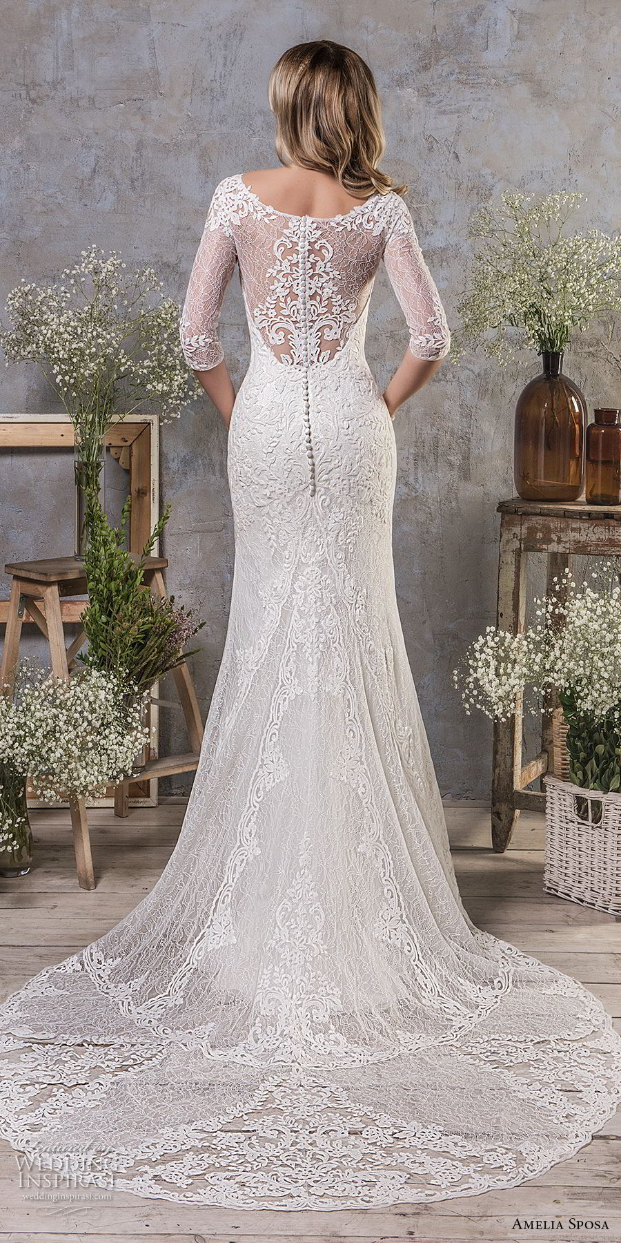 amelia sposa fall 2018 bridal half sleeves sweetheart neckline heavily embellished bodice elegant drop waist a line wedding dress covered lace back medium train (4) bv