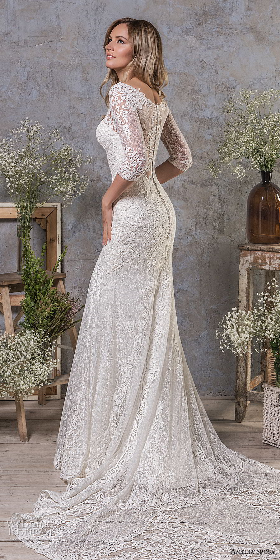 amelia sposa fall 2018 bridal half sleeves sweetheart neckline heavily embellished bodice elegant drop waist a line wedding dress covered lace back medium train (4) sdv