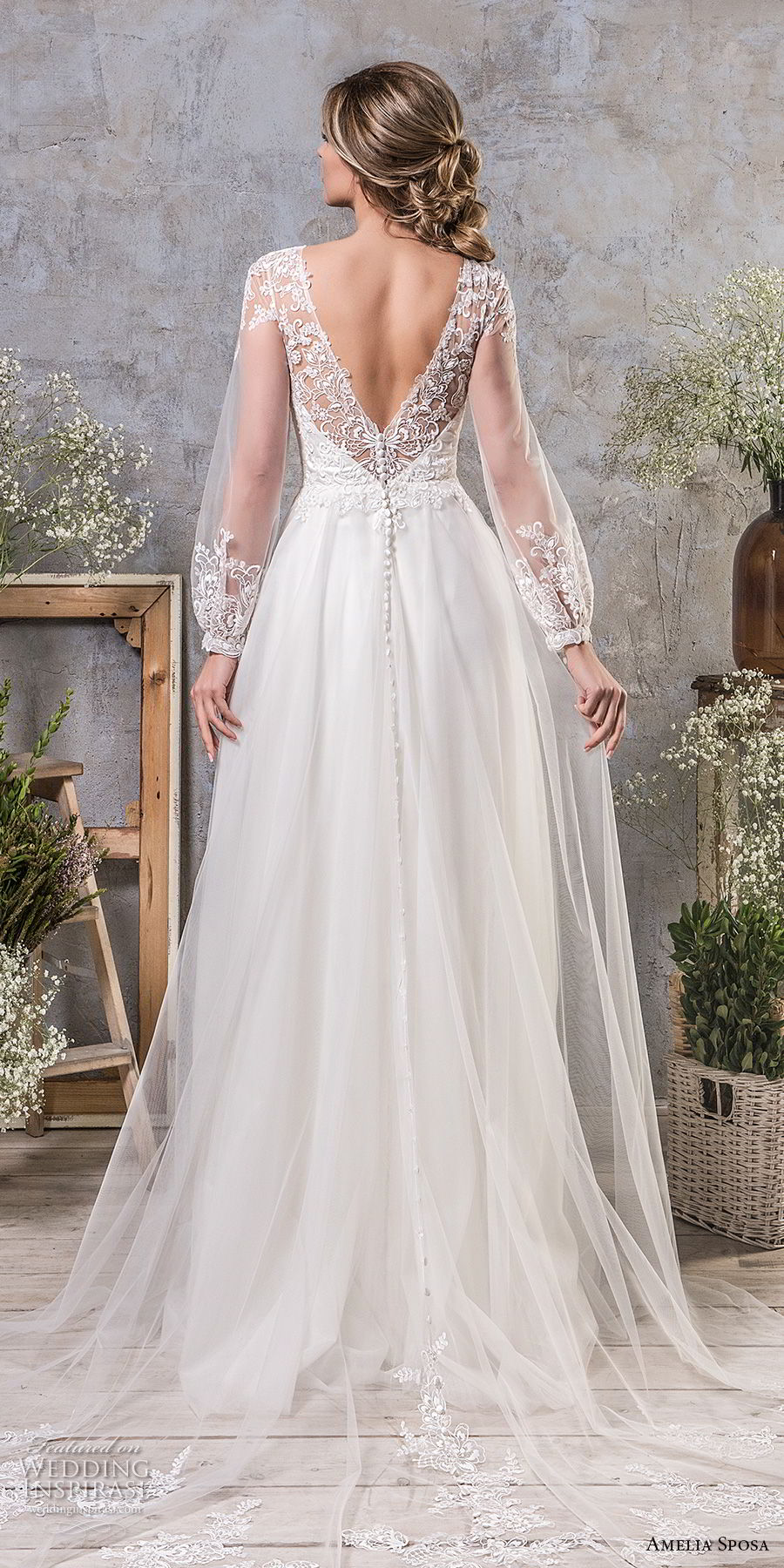 amelia sposa fall 2018 bridal long bishop sleeves illusion jewel semi sweetheart neckline heavily embellished bodice romantic a line wedding dress open v back chapel train (16) bv