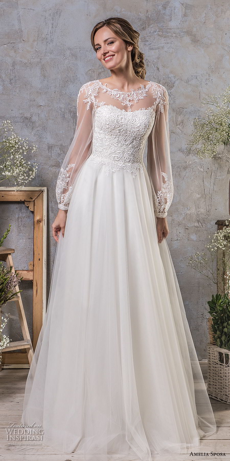 amelia sposa fall 2018 bridal long bishop sleeves illusion jewel semi sweetheart neckline heavily embellished bodice romantic a line wedding dress open v back chapel train (16) mv