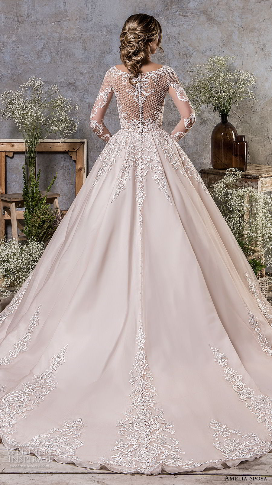 amelia sposa fall 2018 bridal long sleeves illusion bateau sweetheart neckline full embellishment elegant mermaid wedding dress a line overskirt sheer lace back sweep train (19) bv