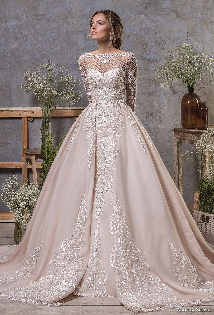 amelia sposa fall 2018 bridal long sleeves illusion bateau sweetheart neckline full embellishment elegant mermaid wedding dress a line overskirt sheer lace back sweep train (19) mv